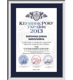 Сертифікат міжнародного зразка «Керівник року України 2013»