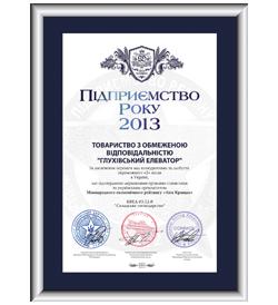 Сертифікат міжнародного зразка «Підприємство року 2013»