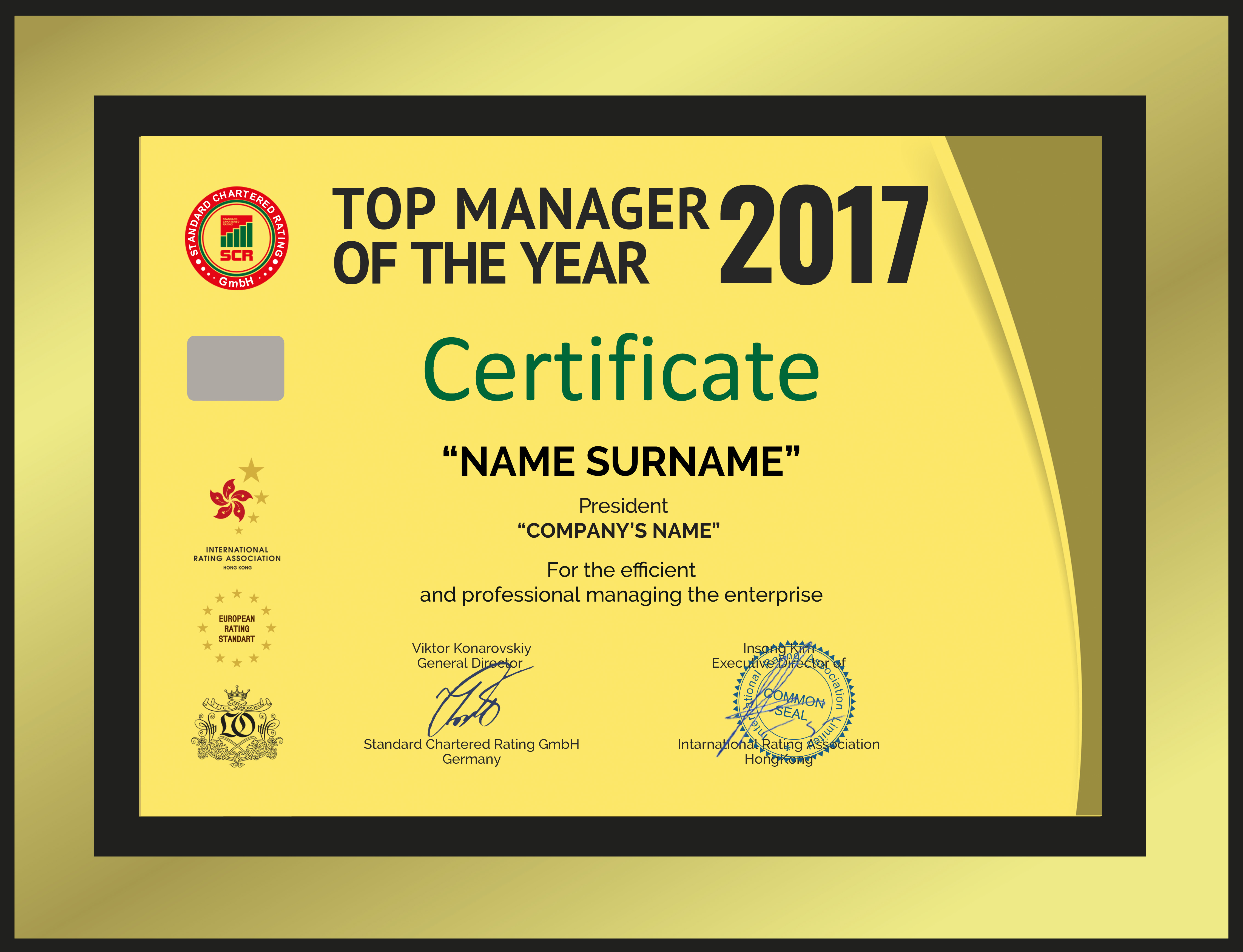 Особиста статус-нагорода «Керівник року — 2017»